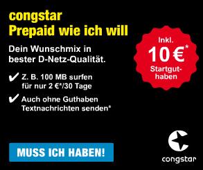CONGSTAR Prepaid Starterpaket Datenflatrate inkl. 10EUR Startguthaben - Aktiviert