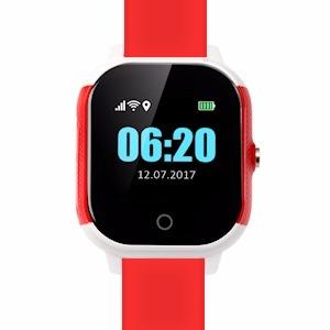 Cares.Watch Profi weiß/rot mit rotem Leder-Armband