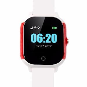 Cares.Watch Profi weiß/rot mit weißem Leder-Armband